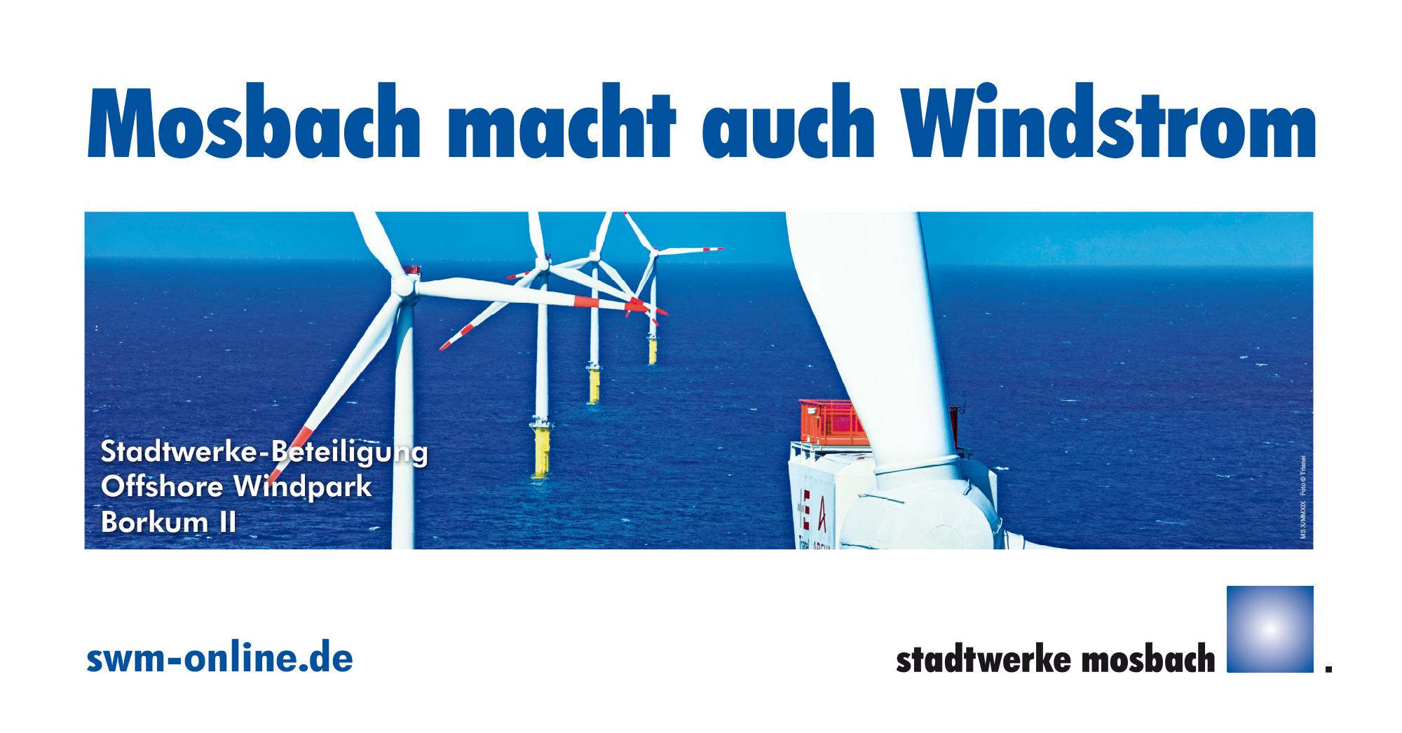 Bauzaunbanner Motiv Stadtwerke Mosbach Windkraft