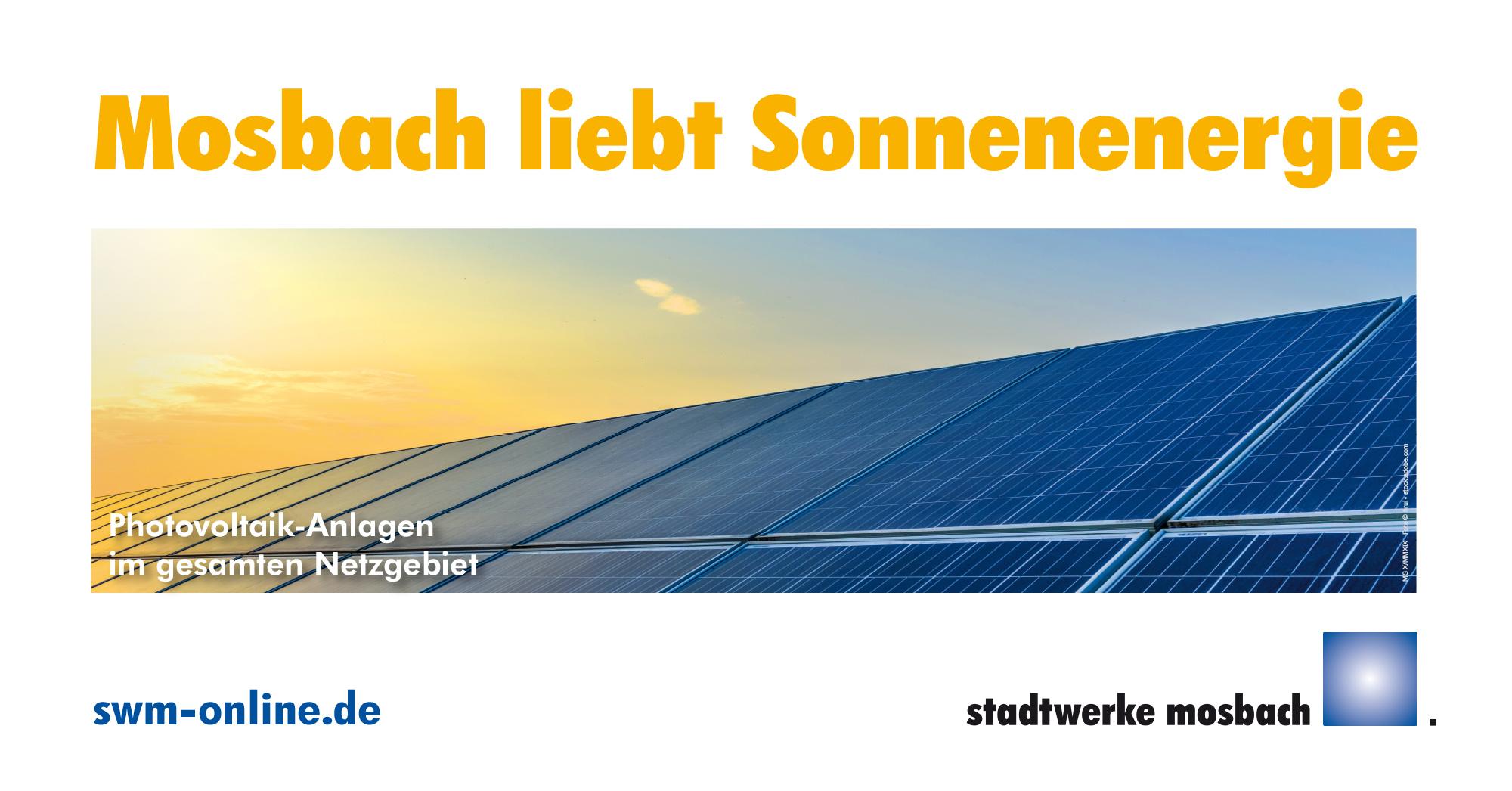 Bauzaunbanner Motiv Stadtwerke Mosbach Photovoltaik