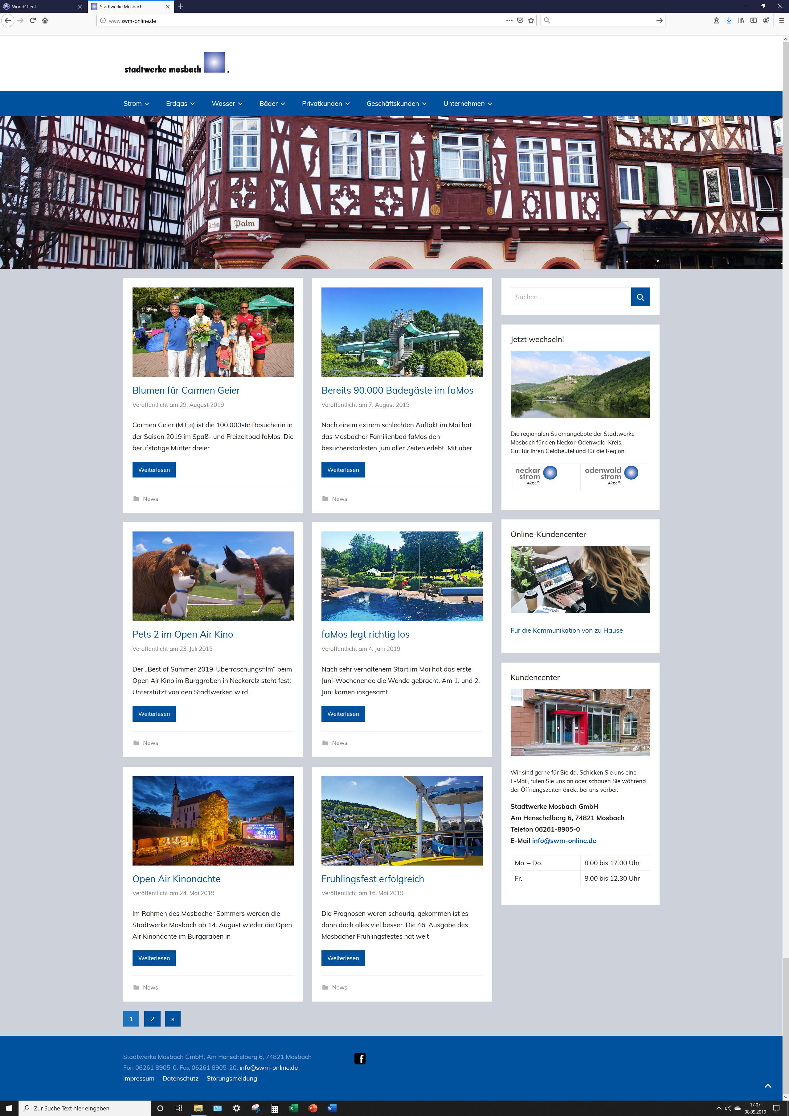 Stadtwerke Mosbach Website STZ Agentur Reutlingen für Digitale Medien, Design, Marketing