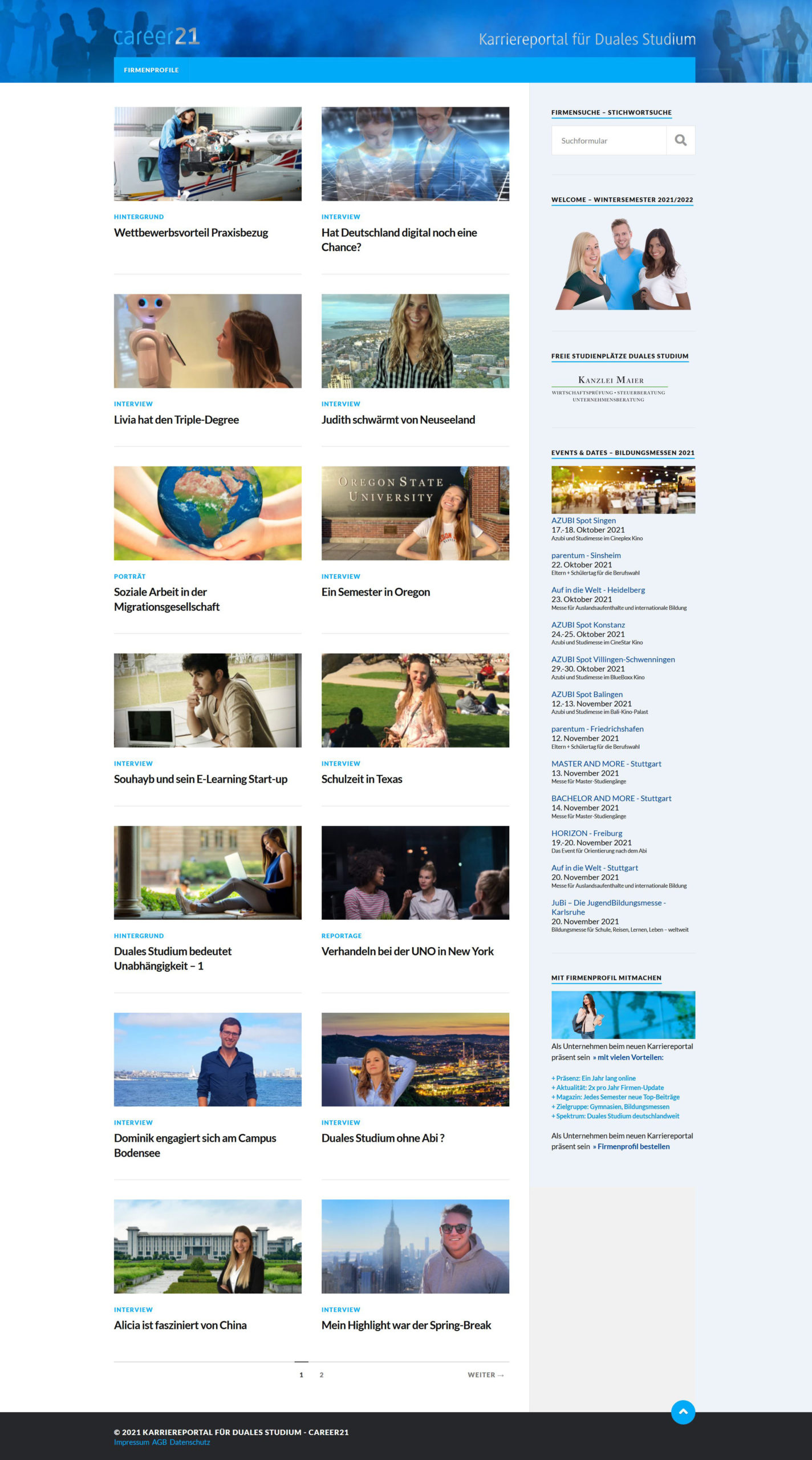 career21 - Karriereportal für Duales Studium Internet Webdesign